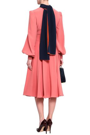 ROKSANDA Draped cutout silk-crepe midi dress