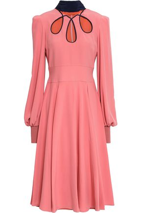 ROKSANDA Fluted cutout silk-crepe midi dress