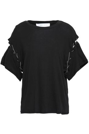 IRO Chain-embellished cutout cotton-jersey T-shirt