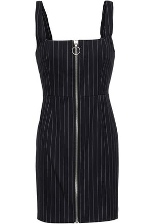 NICHOLAS Zip-detailed pinstriped twill mini dress