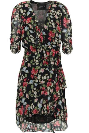 NICHOLAS Floral-print silk-georgette mini dress