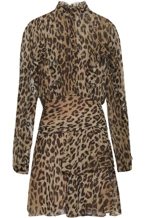 NICHOLAS Ruffled leopard-print silk-georgette mini dress