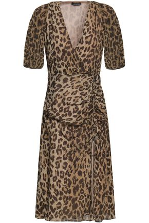 NICHOLAS Wrap-effect ruched leopard-print silk-georgette dress