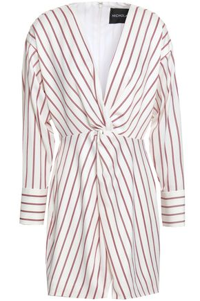 NICHOLAS Twist-front striped satin-crepe mini dress