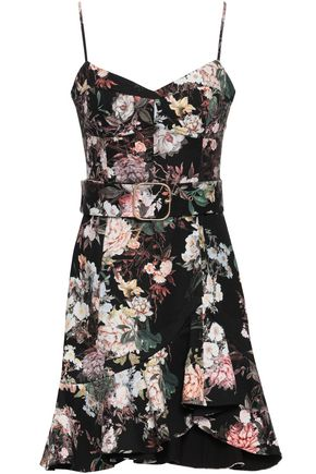 NICHOLAS Belted floral-print stretch-cotton twill mini dress