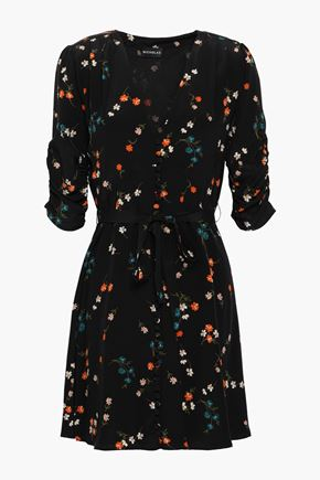 NICHOLAS Ruched floral-print silk mini dress