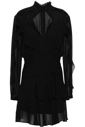 NICHOLAS Ruffled gathered silk-georgette mini dress