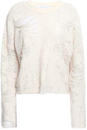 IRO Distressed French cotton-blend terry sweatshirt