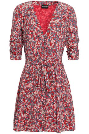 NICHOLAS Ruched floral-print silk-georgette mini dress