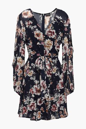 NICHOLAS Ruffled floral-print silk-georgette mini dress