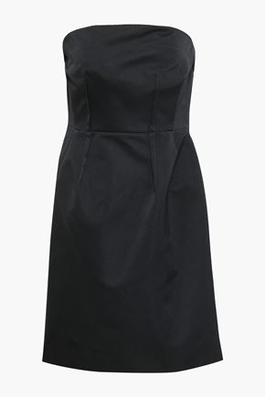 THEORY Strapless draped satin dress