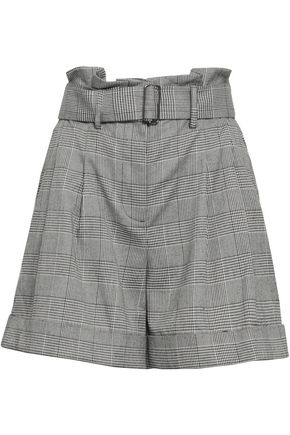 NICHOLAS Belted Prince of Wales checked jacquard shorts