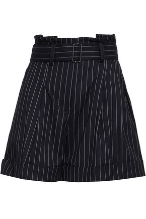 NICHOLAS Belted pinstriped canvas shorts
