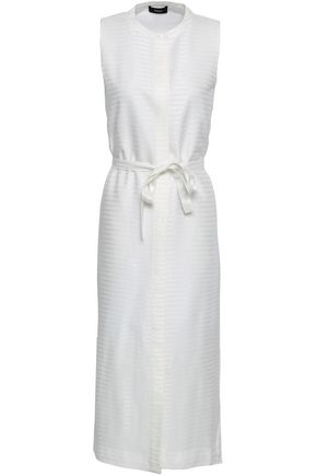 THEORY Belted jacquard midi dress