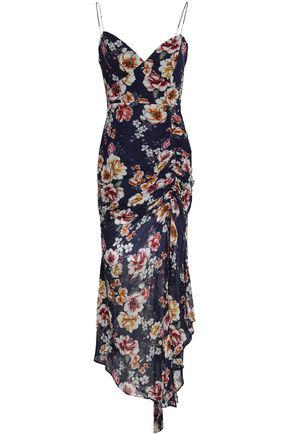 NICHOLAS Asymmetric ruched floral-print silk-georgette midi dress