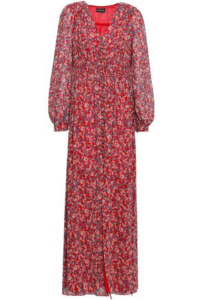 NICHOLAS Pleated floral-print silk-georgette maxi dress