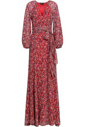 NICHOLAS Wrap-effect floral-print silk-georgette maxi dress