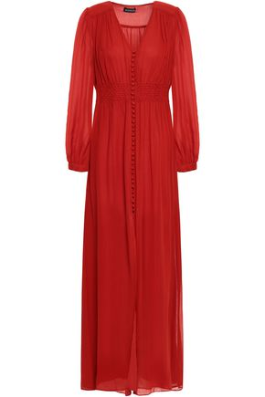 NICHOLAS Gathered silk-georgette maxi dress