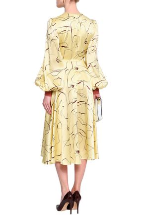 ROKSANDA Cutout printed silk-satin midi dress