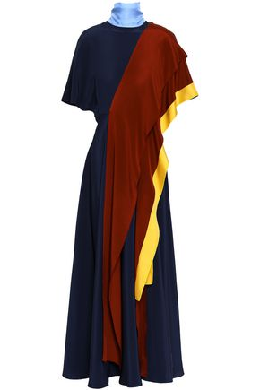 ROKSANDA Draped color-block silk maxi dress