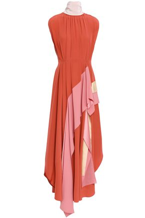 ROKSANDA Ruffled color-block silk-crepe maxi dress