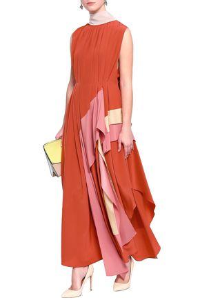 ROKSANDA Pleated crepe de chine-paneled silk maxi dress
