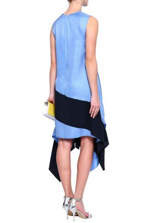 ROKSANDA Draped silk-twill and crepe de chine dress