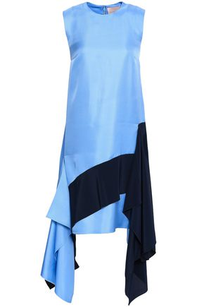 ROKSANDA Draped two-tone silk-twill and crepe de chine dress