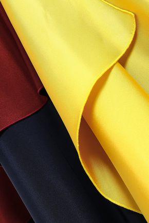 ROKSANDA Draped color-block silk-twill and crepe de chine maxi dress