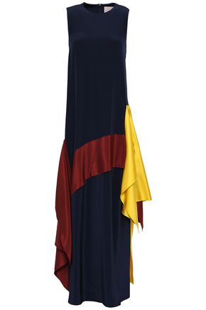 ROKSANDA Draped color-block silk-twill and crepe de chine maxi dress