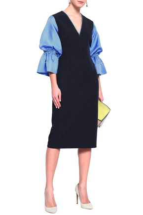 ROKSANDA Silk-blend twill and crepe dress