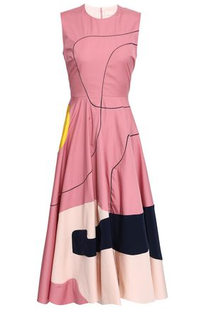 ROKSANDA Flared paneled cotton and silk-blend midi dress