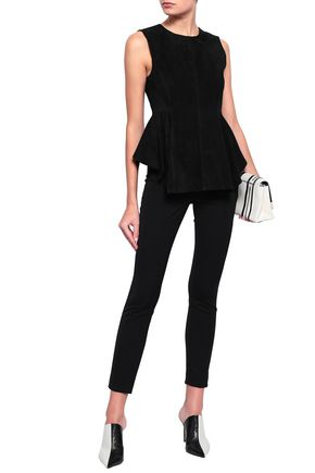 THEORY Perfect suede peplum top