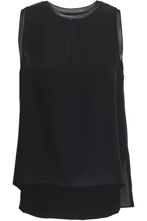 THEORY Paneled silk-crepe top