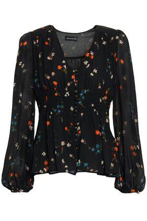 NICHOLAS Smocked floral-print silk-georgette blouse