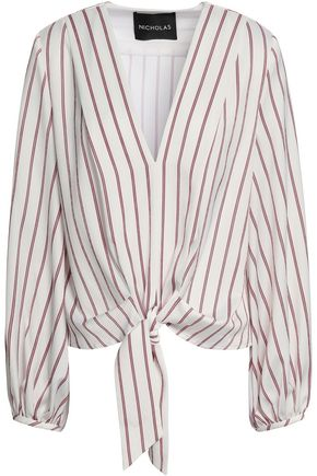 NICHOLAS Tie-front striped satin-crepe blouse