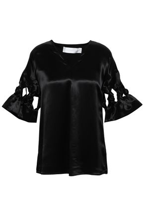 VICTORIA, VICTORIA BECKHAM Bow-detailed cutout satin blouse