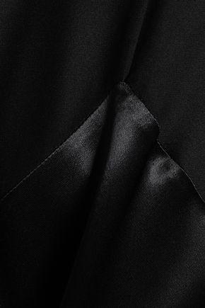 VICTORIA, VICTORIA BECKHAM Satin and crepe de chine-paneled mini shirt dress