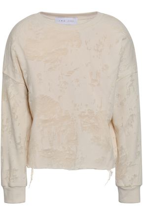 IRO Sudami distressed French cotton-blend terry sweatshirt