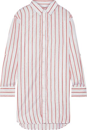 ONIA Marie metallic striped voile coverup