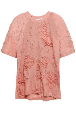IRO Distressed French cotton-blend terry T-shirt