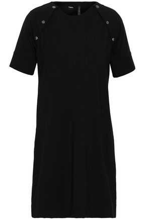 THEORY Button-embellished stretch-jersey mini dress