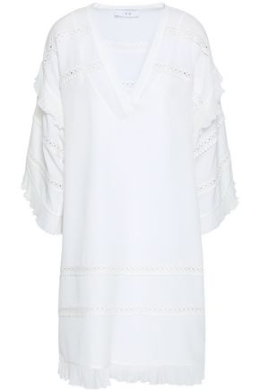 IRIEDAILY | Iro Lace-Trimmed Crepe De Chine Mini Dress | Goxip