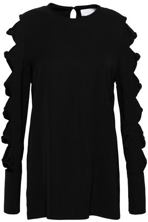 VICTORIA, VICTORIA BECKHAM Bow-detailed cutout satin blouse