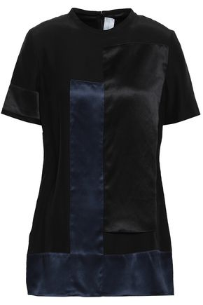 VICTORIA, VICTORIA BECKHAM Two-tone silk satin-paneled crepe de chine top