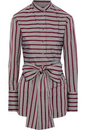 VICTORIA, VICTORIA BECKHAM Bow-detailed striped cotton shirt