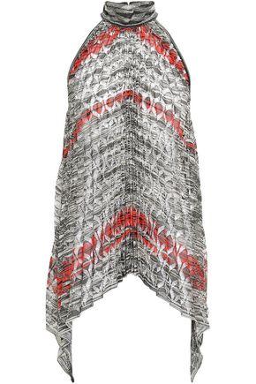 MISSONI Pleated metallic crochet-knit halterneck top