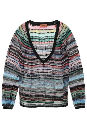 MISSONI Metallic striped crochet-knit cotton-blend sweater