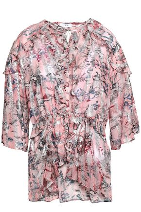 IRO Metallic fil coupé printed silk-blend blouse
