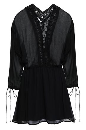 IRO Lace-up lace-trimmed georgette mini dress